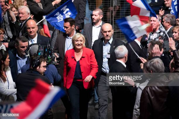 Marine Le Pen France's presidential candidate and leader of the French National Front arrives to speak during an election campaign meeting in Lille...