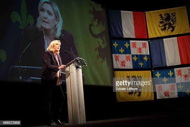 Marine Le Pen leader of the French farright National Front party gives a speech during her campaign rally for the upcoming regional elections in the...