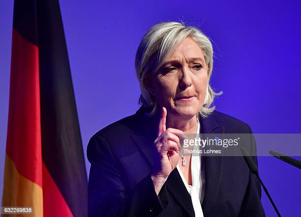 Marine Le Pen leader of the French Front National political party speaks at a conference of European rightwing parties on January 21 2017 in Koblenz...