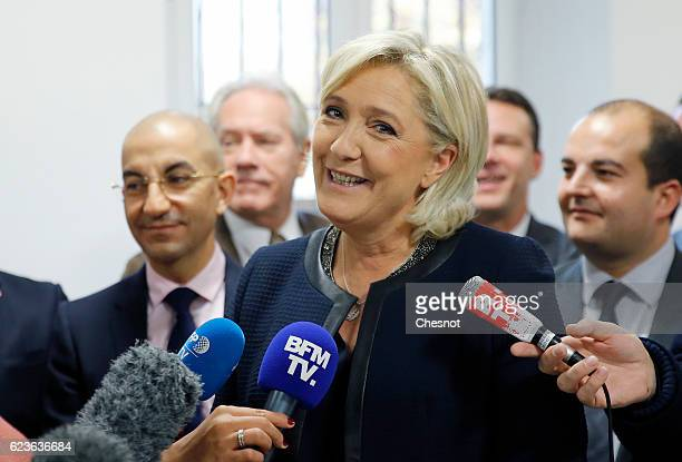 Marine Le Pen leader of the French National Front attends the official inauguration of her campaign headquarters 'L'Escale' on November 16 2016 in...
