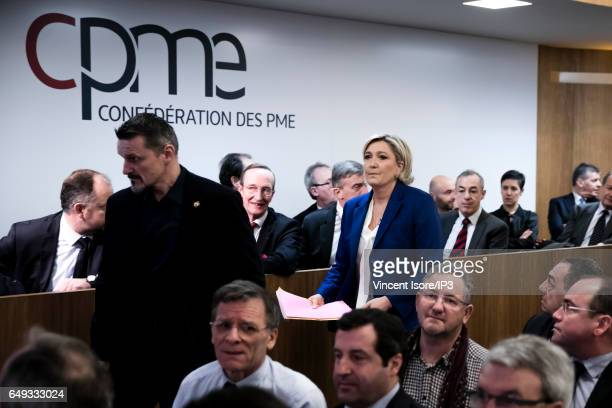 Marine Le Pen National Front Party Leader and candidate for the 2017 French Presidential Election delivers a speech during a question and answer...