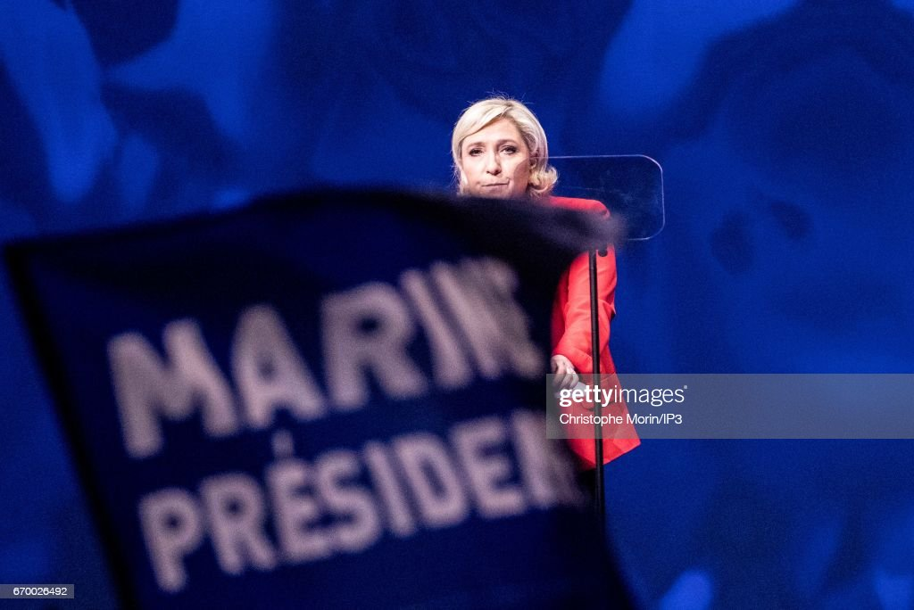 Marine Le Pen, National Front Party Leader and candidate for the 2017 French Presidential Election holds a meeting at La Villette, in the Zenith on April 17, 2017 in Paris, France. France will go to the polls on April 23 to decide their next President.