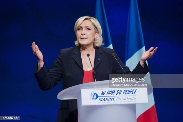 Marine Le Pen National Front Party Leader and candidate for the 2017 French Presidential Election holds a meeting on April 19 2017 in Marseille...