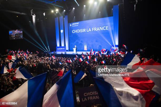 Marine Le Pen National Front Party Leader and presidential candidate holds a meeting ahead of the second round of the French Presidential Election on...