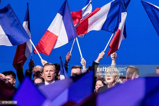 Marine Le Pen National Front Party Leader and presidential candidate holds a Campaign meeting with Nicolas Dupont Aignan Leader of the sovereignist...