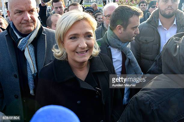Marine Le Pen President of the French far right political party Front National and Florian Philippot Vice President of the French far right political...