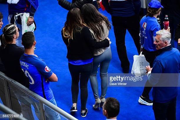 Marine Lloris and Ludivine Sagna before the UEFA Euro 2016 Quarter Final between France and Iceland at Stade de France on July 3 2016 in Paris France