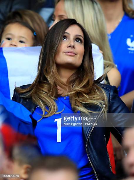 Marine Lloris wife of France goalkeeper Hugo Lloris in the stands