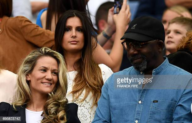 Marine Lloris wife of France's goalkeeper Hugo Lloris is pictured during the friendly football match France vs England on June 13 2017 at the Stade...