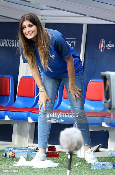 Marine Lloris wife of Hugo Lloris looks on following the UEFA EURO 2016 round of 16 match between France and Republic of Ireland at Stade des...