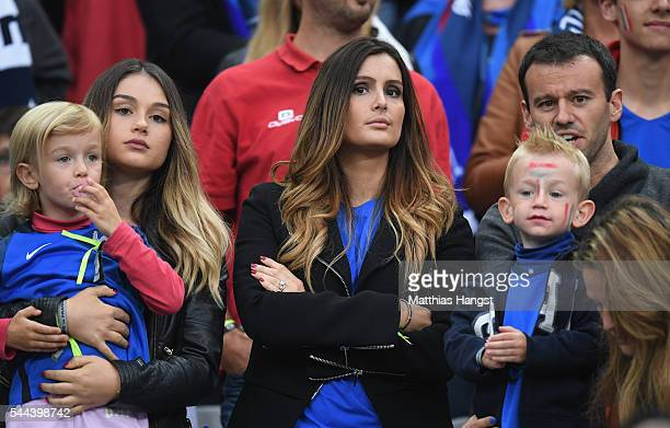Marine Lloris wife of Hugo Lloris of France is seen in the stand prior to the UEFA EURO 2016 quarter final match between France and Iceland at Stade...