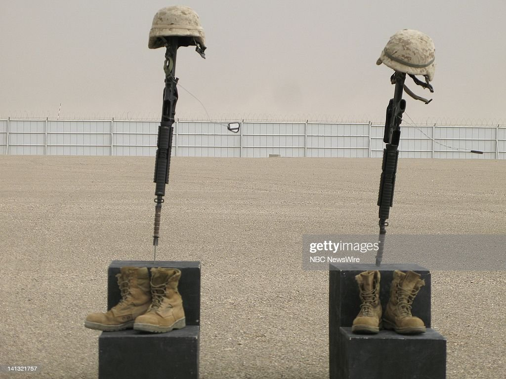 A memorial service held at Camp Bastion Helmand Province Afghanistan on April 22 for two US Marines KIA First Sgt Luke Mercardante and Cpl Kyle Wilks...