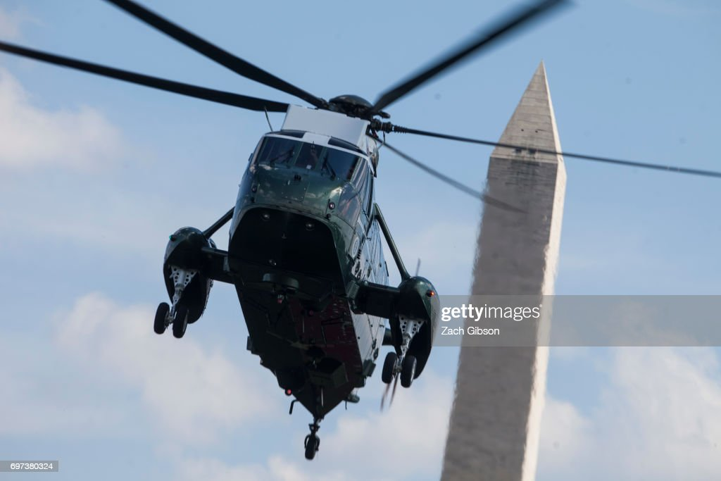 Marine One arrives at The White House carrying President Donald Trump, First Lady Melania Trump, and their son, Barron Trump, on June 18, 2017 in Washington, D.C. President Trump spent the weekend at Camp David.
