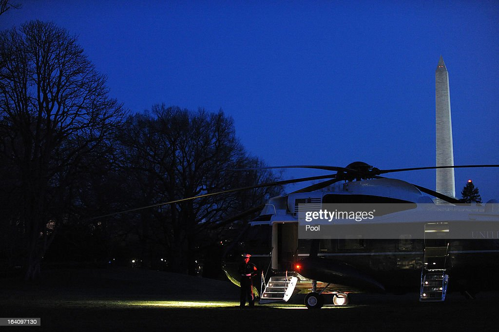 Marine One awaits for U.S. President Barack Obama to depart the White House on March 19, 2013 in Washington, DC. Obama will travel to Tel Aviv, Israel to attend bilaterals.