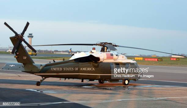 Marine One awaits the arrival of US President Barack Obama at Stansted airport ahead of the G20 summit in London
