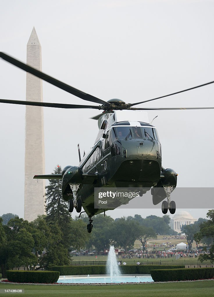Marine One, carrying U.S. President Barack Obama, lands on the South Lawn of the White House June 29, 2012 in Washington, D.C. The president was returning from a trip to Colorado Springs, Colorado to view damage from the wildfires raging there and to thank emergency workers for their efforts.