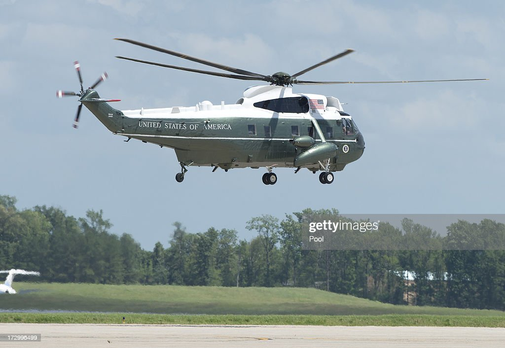 Marine One departs with U.S. President Barack Obama enroute to Camp David at Joint Base Andrews on July 5, 2013 near Camp Springs, Maryland. Obama is heading to Camp David following a round of golf.