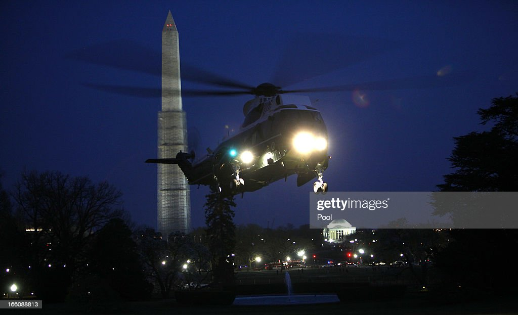 Marine One lands at the White House after President Barack Obama made a trip to Connecticut on April 8, 2013 in Washington, DC. Earlier in the day, Obama delivered a speech on gun control at the University of Hartford.