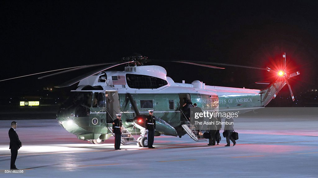 Marine One, presidential helicoter carrying U.S. President Barack Obama is seen at Centrair International Airport on May 25, 2016 in Tokoname, Aichi, Japan. The Group of Seven summit takes place on May 26 and 27 to discuss key global issues such as global economy and anti terrorism measures.