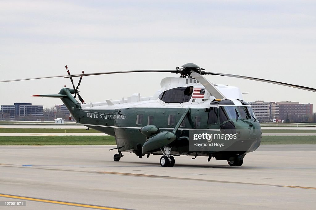 Marine One sits on the tarmac at Chicago's O'Hare International Airport in Chicago Illinois on OCTOBER 25 2012