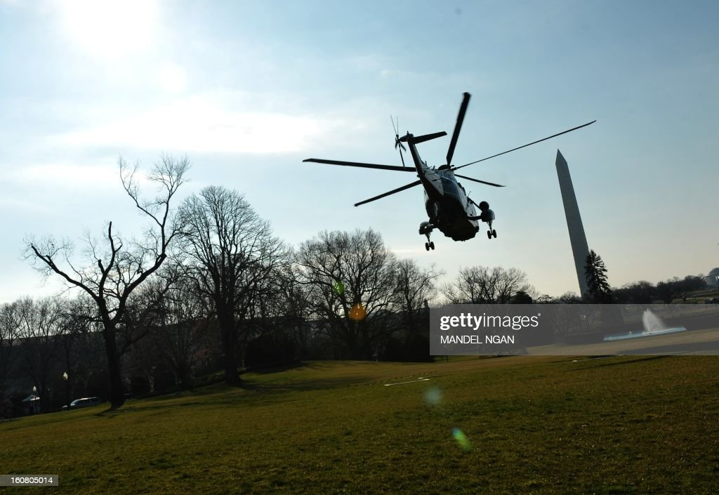 Marine One, with US President Barack Obama, takes off from the South Lawn of the White House on February 6, 2013 in Washington, DC. Obama was headed to Annapolis, Maryland to attend the Senate Democratic Issues Conference. AFP PHOTO/Mandel NGAN