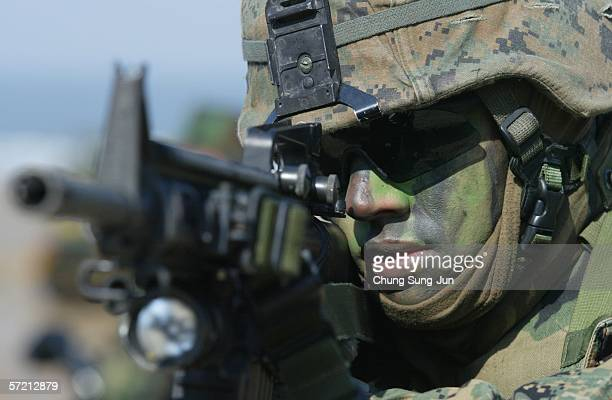 S Marine participates in Reception Staging Onward Movement and Integration referred to as RSOI/Foal Eagle 2006 joint military exercise with South...