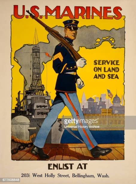 Marine Patrolling Dock with War Ship in Background 'US Marines Service on Land and Sea' World War I Recruitment Poster by Sidney H Riesenberg USA 1917