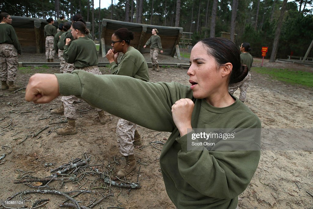 Marine recruit Bibria Pagen Velazquez of Ponce Puerto Rico practices martial arts during boot camp February 27 2013 at MCRD Parris Island South...