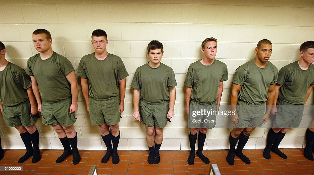 Marine recruits get proceessed after arriving in the early morning hours at the United States Marine Corps Recruit Depot June 22 2004 in Parris...