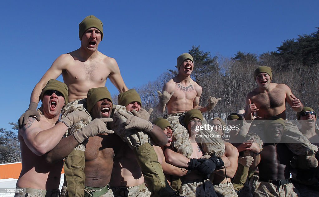 S. marine soldiers from 1st battalion 3rd marine deployed from Hawaii participate in the U.S. and South Korean Marines joint winter exercise on February 7, 2013 in Pyeongchang-gun, South Korea. The South Korean troops train in temperatures below minus 20 degrees celsius to defend the country against any possible attacks from North Korea.