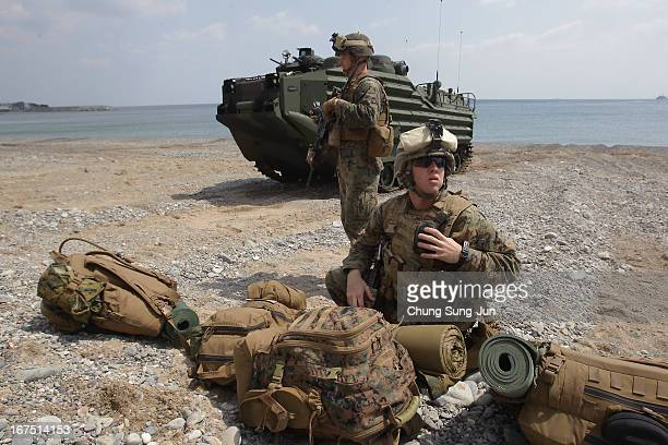 S Marine soldiers from 3rd Marine Expeditionary Force Battalion landing team deployed from Okinawa Japan participate in the US and South Korean...