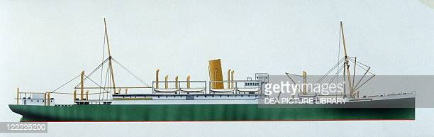 Marine transportation British Aberdeen and Commonwealth steamer HMS Jervis Bay 1922 Color illustration