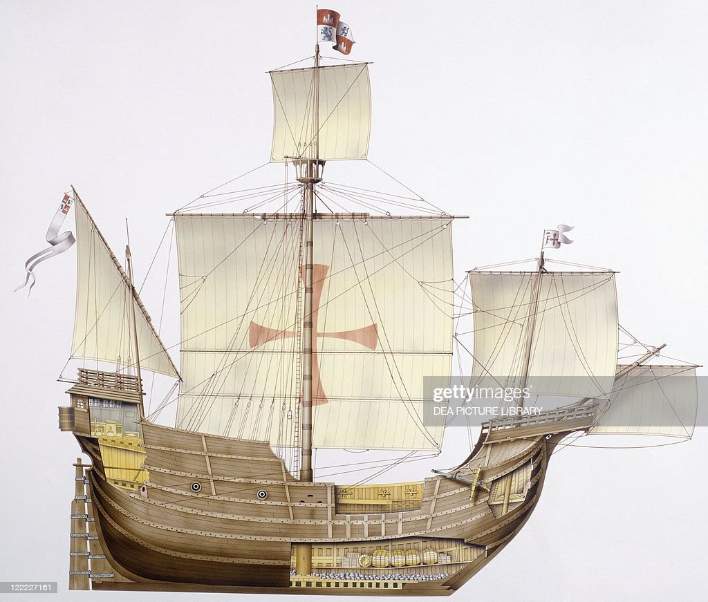 spanish caravel santa maria 15th century color illustration