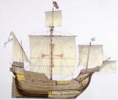 Marine transportation Spanish caravel Santa Mara 15th century Color illustration