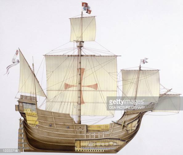 Marine transportation Spanish caravel Santa Mara 15th century Color illustration