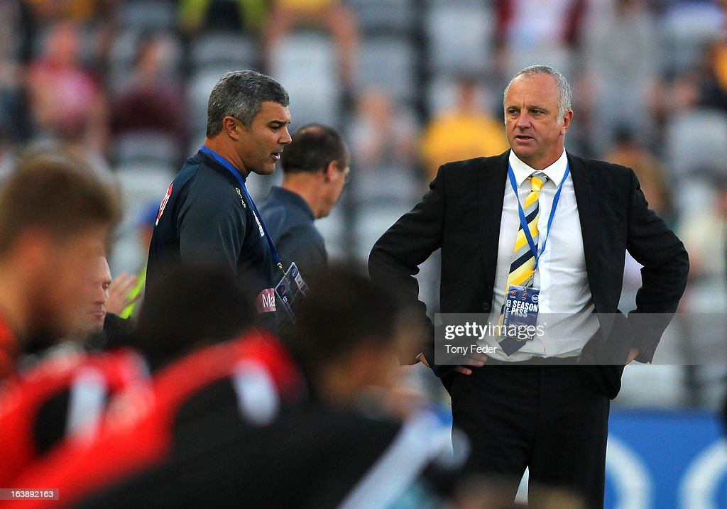 Mariners coach Graham Arnold reacts during the round 25 A-League match between the Central Coast Mariners and the Brisbane Roar at Bluetongue Stadium on March 17, 2013 in Gosford, Australia.