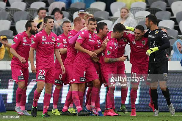 Mariners players celebrate a goal during the round five ALeague match between the Central Coast Mariners and the Wellington Phoenix at Central Coast...