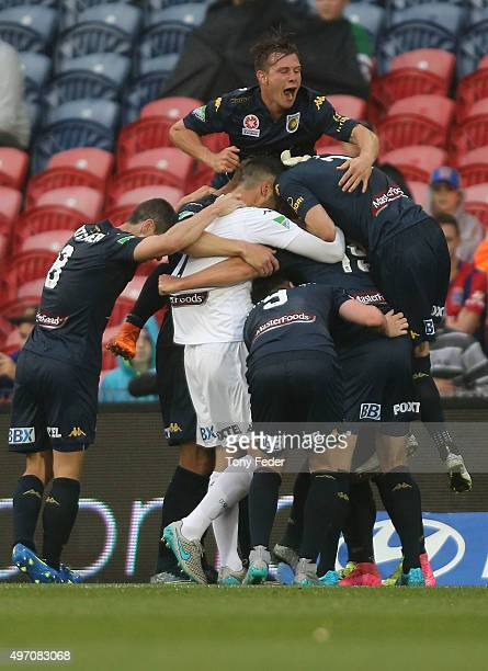 Mariners players celebrate a goal during the round six ALeague match between the Newcastle Jets and the Central Coast Mariners at Hunter Stadium on...