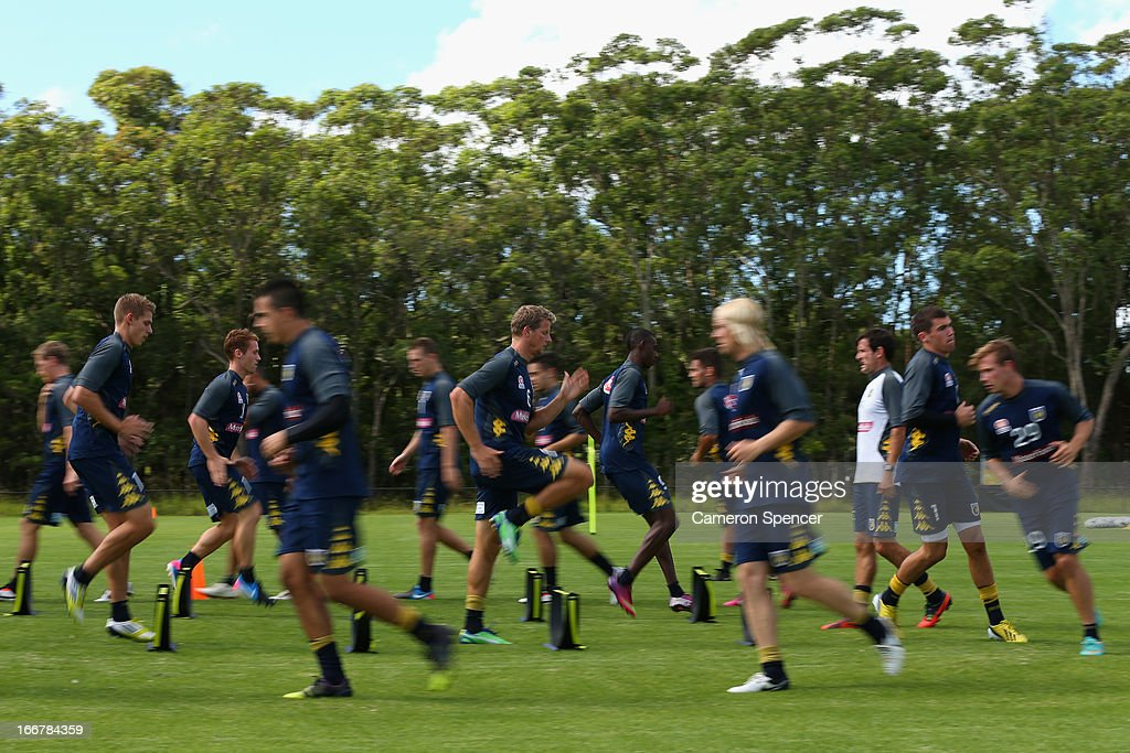 Mariners players participate in a drill during a Central Coast Mariners A-League training session at Central Coast Mariners Centre of Excellence on April 17, 2013 in Tuggerah, Australia.