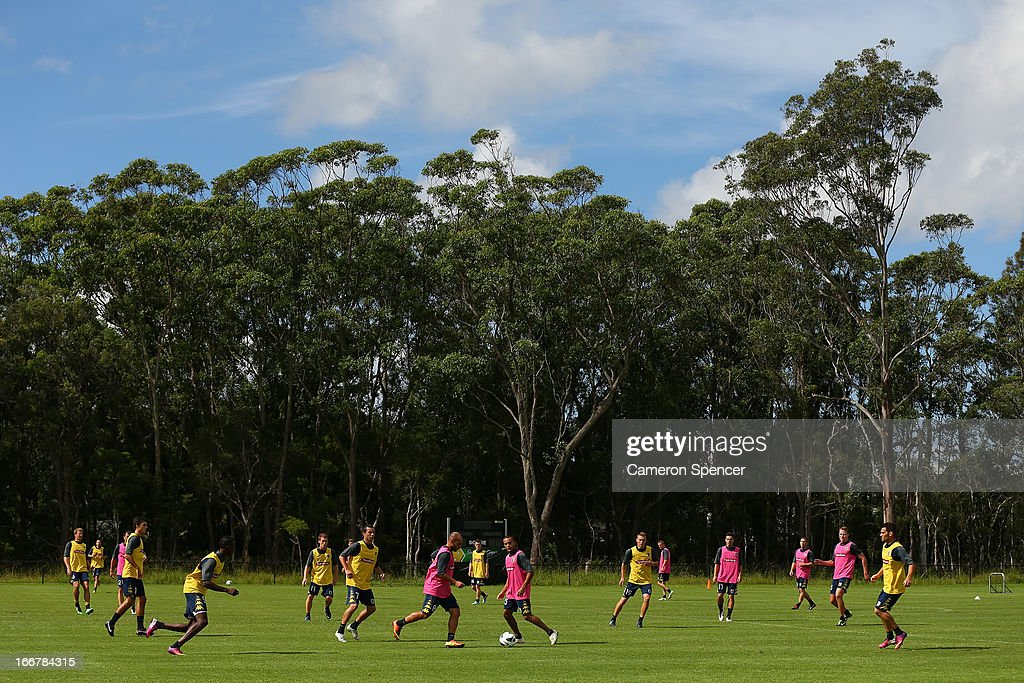Mariners players participate in a match during a Central Coast Mariners A-League training session at Central Coast Mariners Centre of Excellence on April 17, 2013 in Tuggerah, Australia.