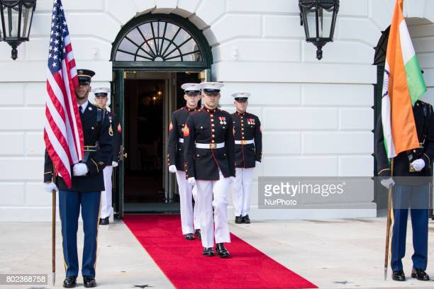 Marines and Honor Guards prepare for the arrival of Prime Minister Narendra Modi of India at the South Portico of the White House on Monday June 26...