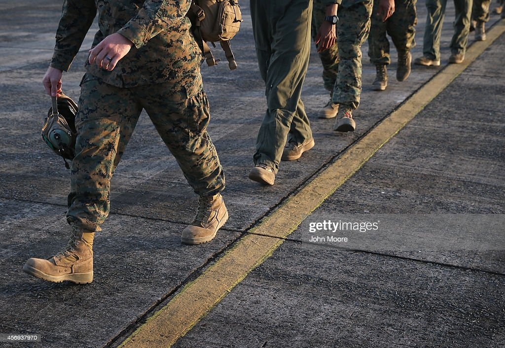 S Marines arrive as part of Operation United Assistance on October 9 2014 in Monrovia Liberia Some 90 Marines the largest group of US military yet...