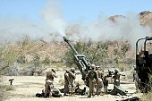 Marines from 3rd Battalion, 11th Marine Regiment shoot 100-pound rounds from their M777 Lightweight Howitzer during a firing mission in Niland, California, April 18.