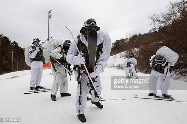 S Marines from 3rd Marine Expeditionary force deployed from Okinawa Japan participate in the winter military training exercise with South Korean...