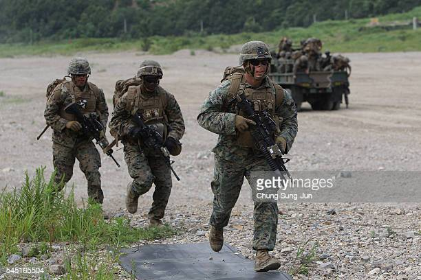 S Marines from 3rd Marine Expeditionary force deployed from Okinawa Japan participate in the joint combat training with South Korean soldiers on July...