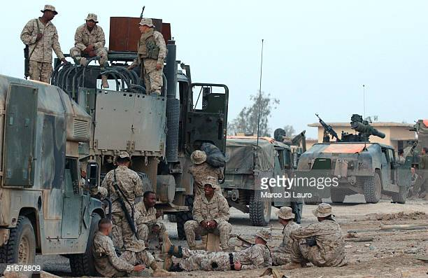 S Marines from the 1st Expeditionary Force 1st Battalion prepare for a possible offensive November 5 near Fallujah Iraq US fighter jets conducted...