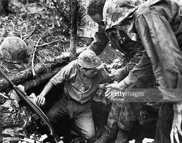 Marines help a Japanese soldier from a dugout on Tinian Island during the Fall of Tinian in World War II He holds a cigarette the Leathernecks used...