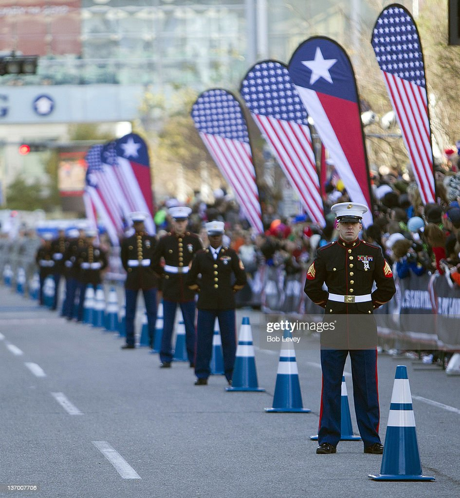Marines line the final leg ogf the course during the US Marathon Olympic Trials on January 14 2012 in Houston Texas