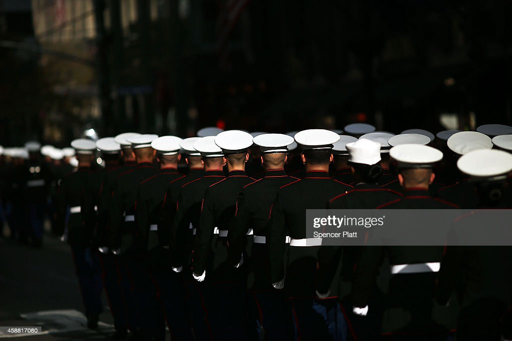 S Marines march in the annual Veteran's Day Parade along Fifth Avenue on November 11 2014 in New York City Often called the largest Veteran's Day...