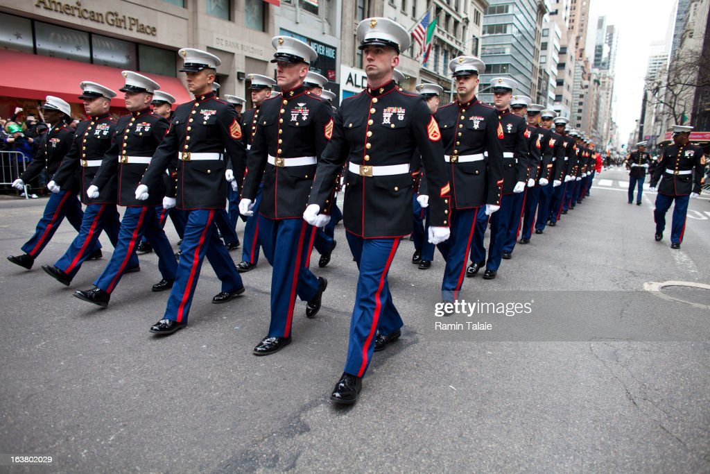 S Marines march on Fifth Avenue during the 252nd annual St Patrick's Day Parade March 16 2013 in New York City The parade honors the patron saint of...